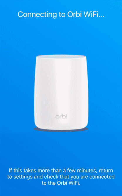 Orbi app connecting to default WiFi network.