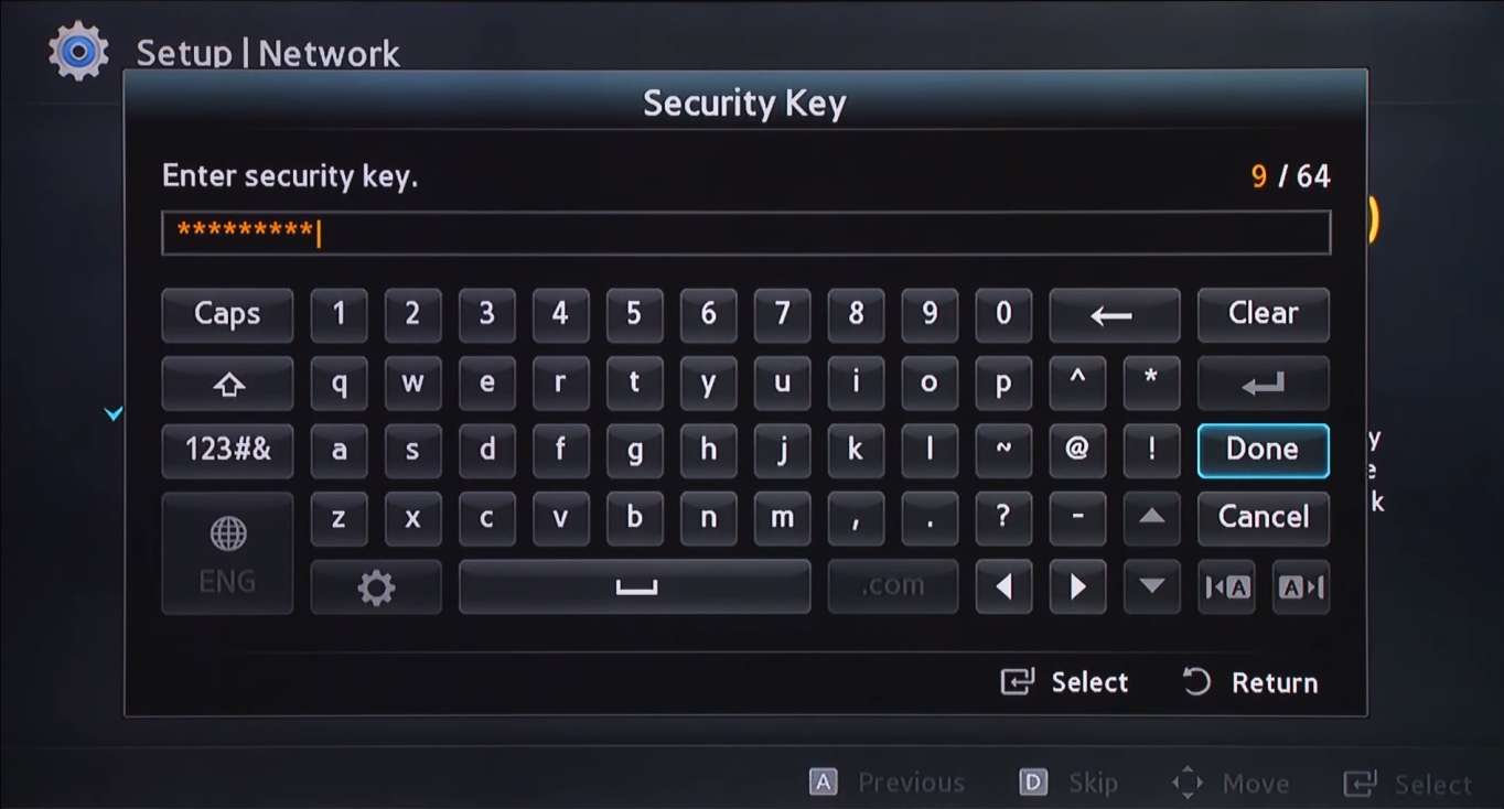 Wi-Fi key entry screen