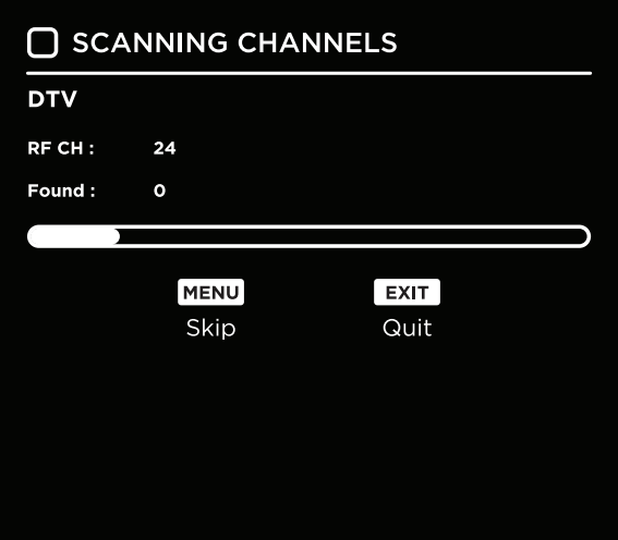 Channel scannning screen