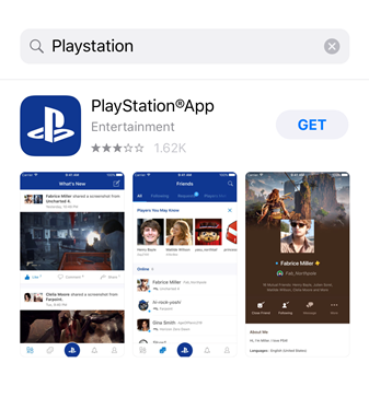 Searching for the PlayStation app on the App store. Screenshot.