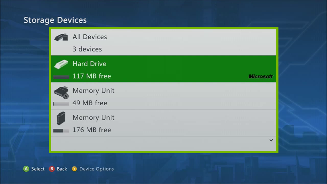 Xbox 360 Storage Devices menu displaying all attached storage mediums your Xbox has available.