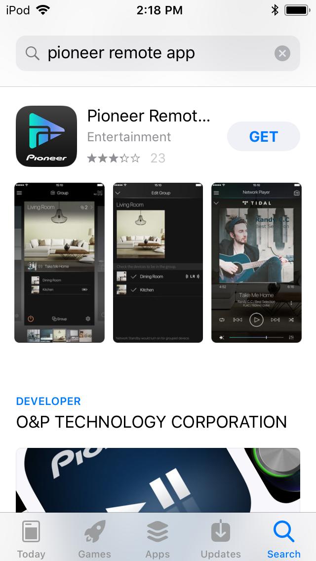 Pioneer Remote App landing page.