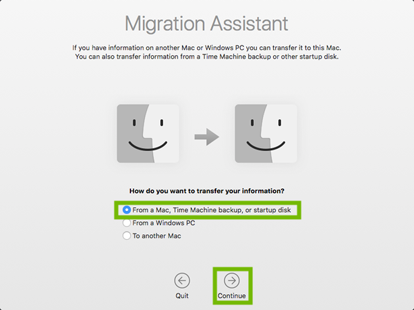 Migration Assistant with From a Mac and Continue highlighted.