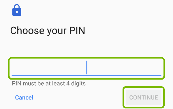 Choose your PIN with PIN entry and Continue button highlighted.