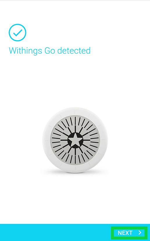 withings go detected with next highlighted