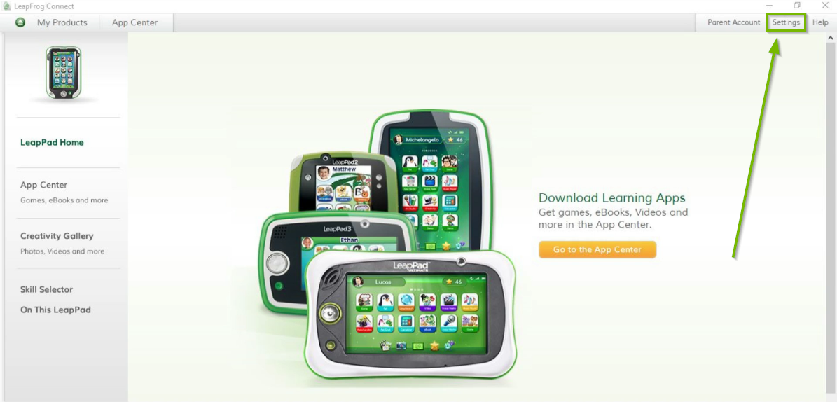 LeapFrog Connect software with Settings menu selected in upper right. Screenshot.