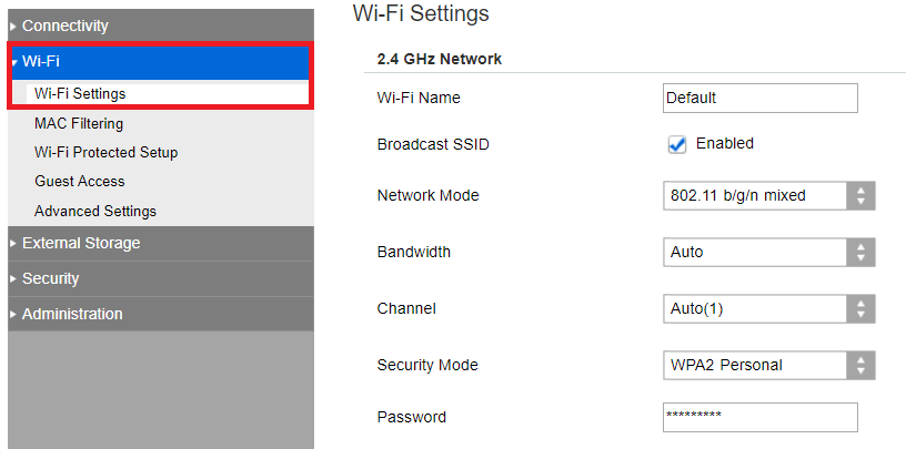 Wi-Fi menu with Wi-Fi Settings selected. Screenshot.