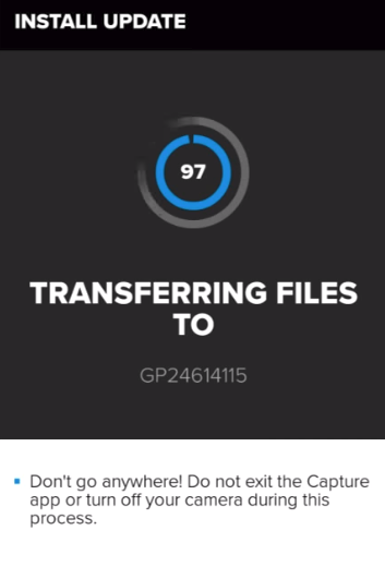 GoPro app transferring update files to the camera.