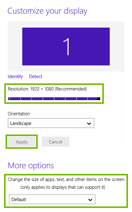 Resolution and scale pickers, and Apply button highlighted in Windows 8 display settings.