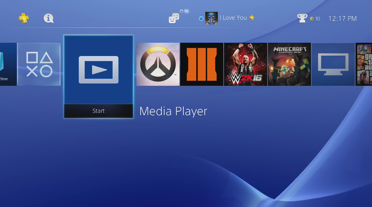 PlayStation 4 menu