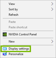 context menu with display settings highlighted