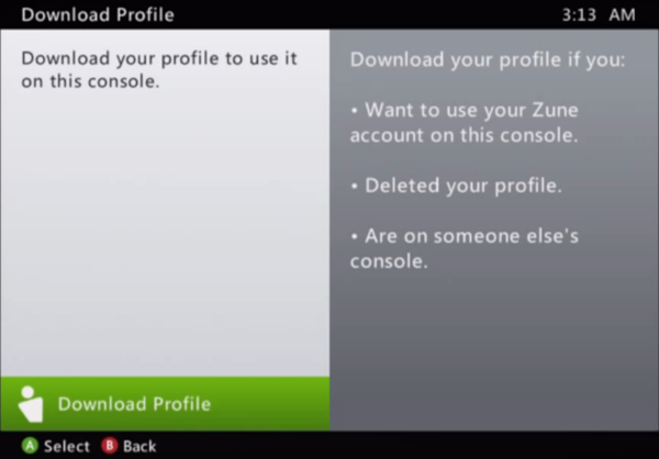 Download Profile option selected in Xbox 360 settings.