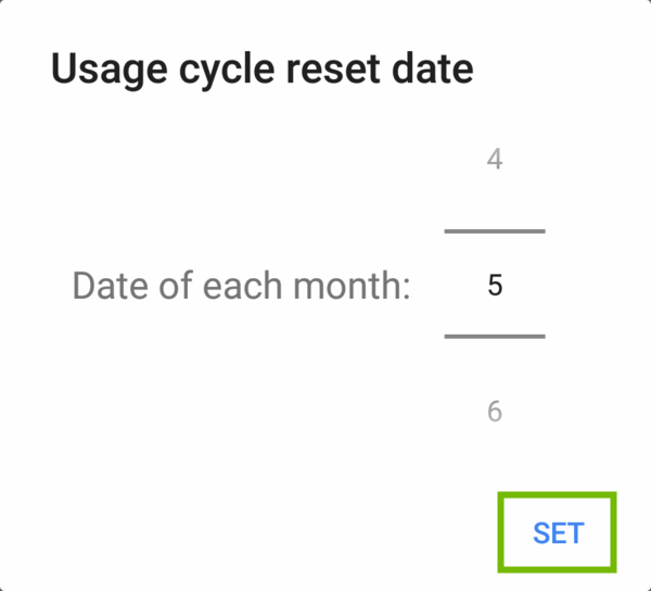 Usage cycle reset date dialog with Set highlighted.