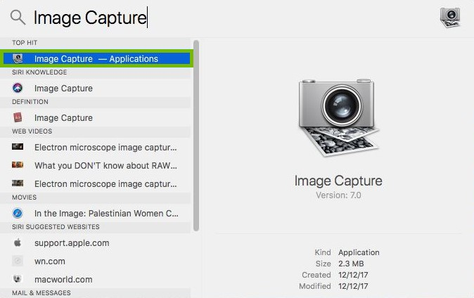 Spotlight with Image Capture app highlighted