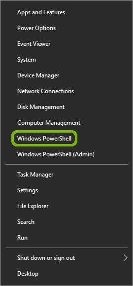 Start menu right-click menu with Windows PowerShell highlighted.