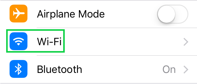 Screenshot of iOS settings with Wi-Fi highlighted