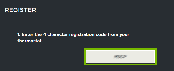 Registration code entry field highlighted in web portal.