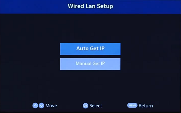 Wired Lan Setup Auto Get IP. Screenshot