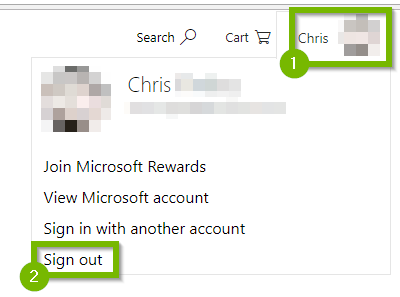 Signing out of Microsoft account.