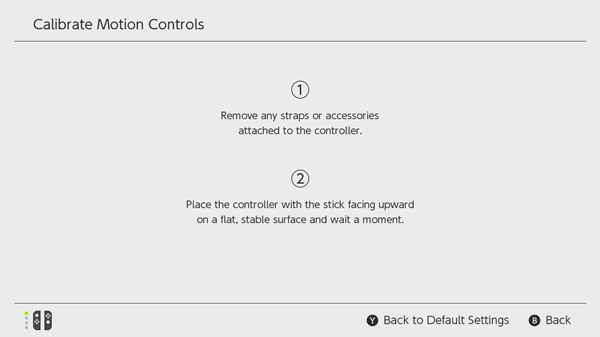 Nintendo Switch calibration instructions