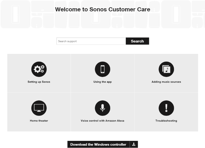 Sonos Controller download page on computer
