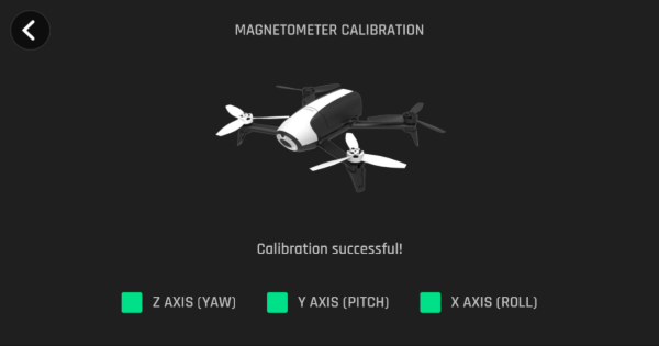 Drone calibration completion screen in FreeFlight Pro app.