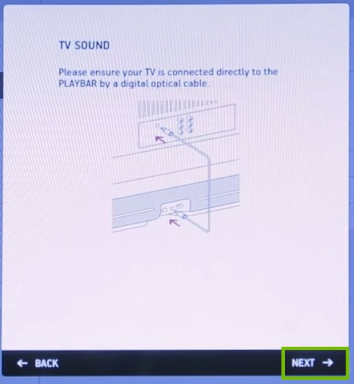 TV Sound with next highlighted