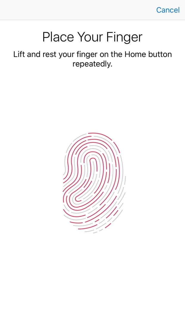Touch ID setup screen with instructions for capturing fingerprints.