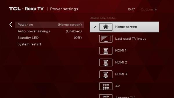 Power Settings screen