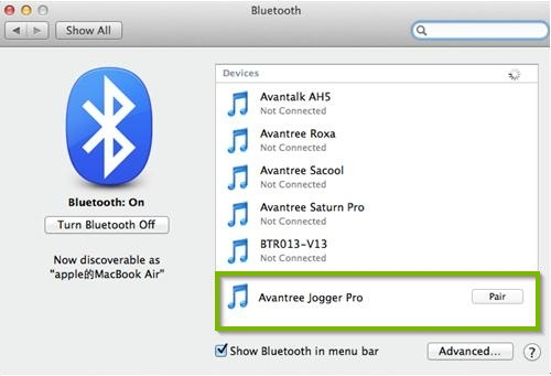screenshot of macOS bluetooth system Preferences highlighting an unpaired Bluetooth device with the pair button on the right