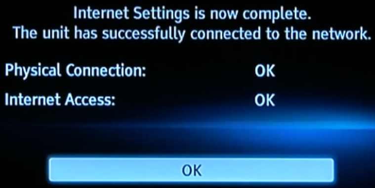 Internet settings summary screen.