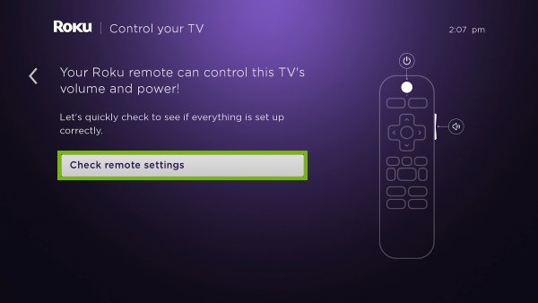 Check remote settings option highlighted in TV controls setup.