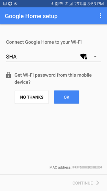 Wi-Fi password retrieval query screen
