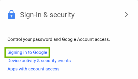 Google Accounts page, highlighting the text Signing Into Google.