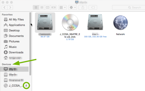 Devices pointed out and Eject symbol highlighted in Finder.