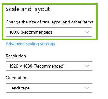 Windows 10 Scale and Layout options