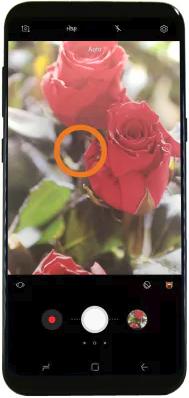 Camera app focus reticle.