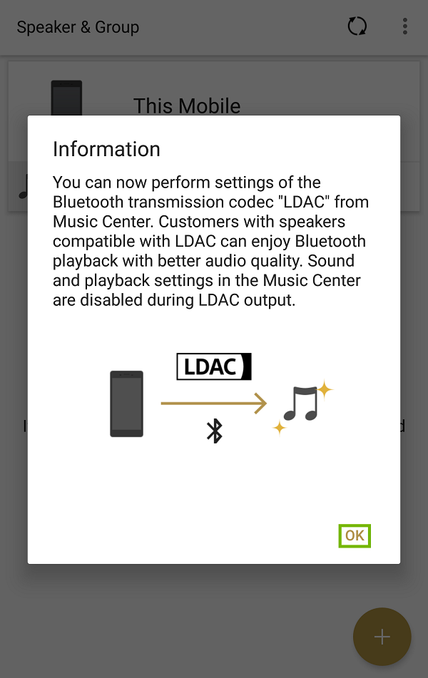 Music Center app Information dialog with OK highlighted.