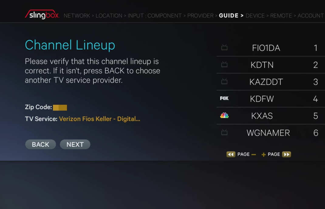 Channel lineup screen