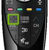 Newer LG remote with Volume Up key highlighted.