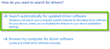 Windows 10 search automatically for updated driver software