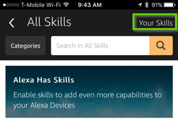 Amazon Alexa Skills page showing your skills highlighted