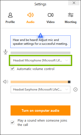 Microphone selector highlighted in join.me app settings.