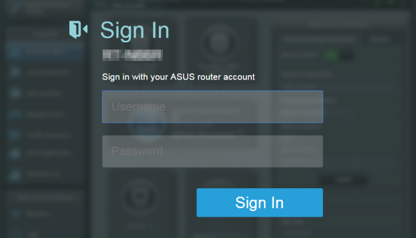 ASUS router login screen.