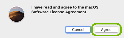 Licence agreement confirmation with Agree highlighted.
