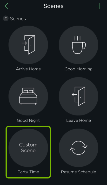 New custom scene highlighted in HomeKit options of ecobee app.
