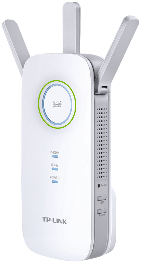 Status light highlighted on front of TP-Link range extender.