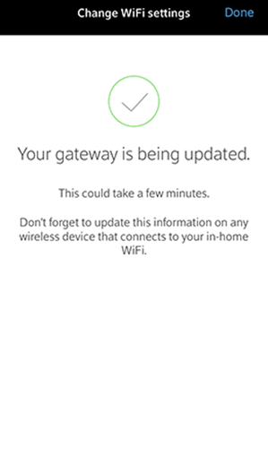 Xfinity app showing gateway being updated