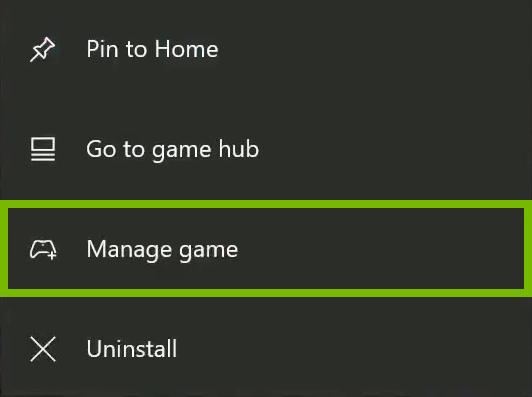 Manage game option highlighted in context menu.