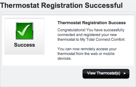 Thermostat Registration Success message.